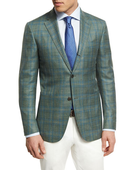 Ermenegildo Zegna Plaid Three-Button Sport Coat, Lime