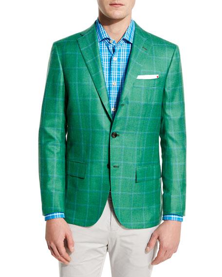 Windowpane Cashmere-Silk Three-Button Sport Coat, Green