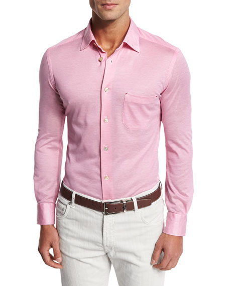 Piqué Long-Sleeve Button-Front Shirt, Pink