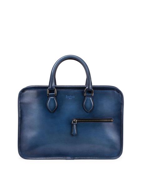 Berluti Un Jour Vitello Leather Briefcase, Aveiro Blue