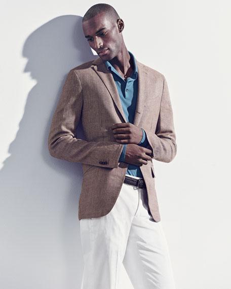 Three-Button Wool-Silk-Linen Blazer, Tan