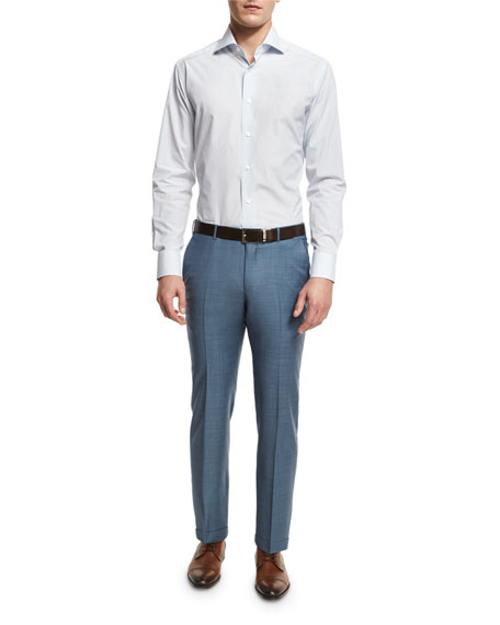 Sharkskin Wool Flat-Front Trousers, Light Blue