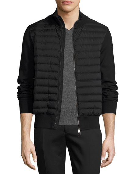 Moncler Moncler Zip-Front Puffer Cardigan, Black