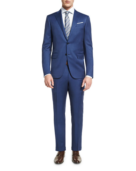 Solid Wool Two-Piece Suit, Blue