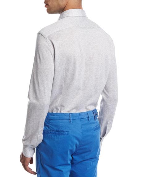 PIqué Knit Button-Front Shirt, Heather Gray