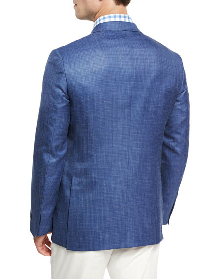 Textured Wool-Silk-Linen Two-Button Sport Coat, Blue