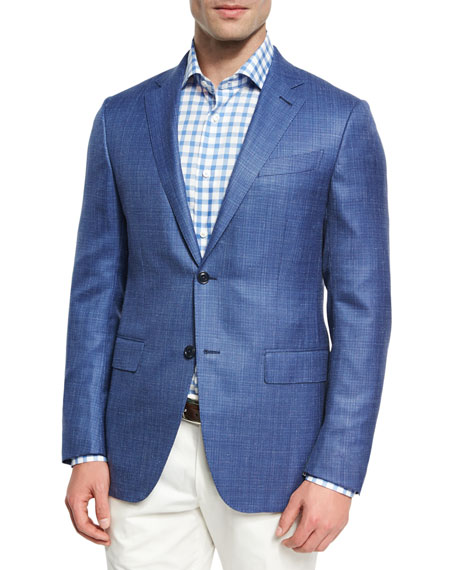 Ermenegildo Zegna Textured Wool-Silk-Linen Two-Button Sport Coat,