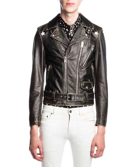 Star-Painted Distressed Leather Moto Jacket, Black