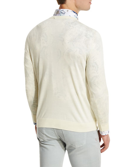 Fine-Gauge V-Neck Sweater, Ivory/Cream