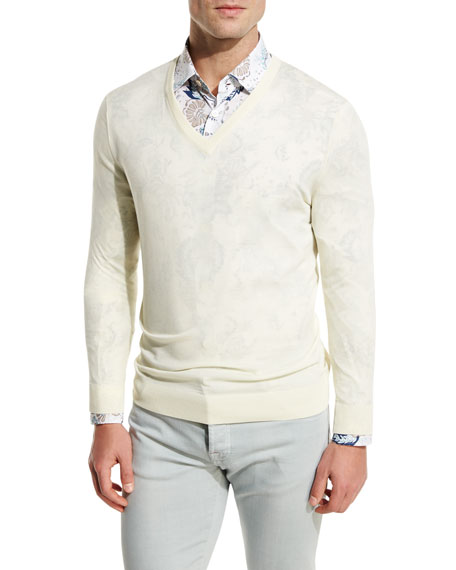 Kiton Fine-Gauge V-Neck Sweater, Ivory/Cream