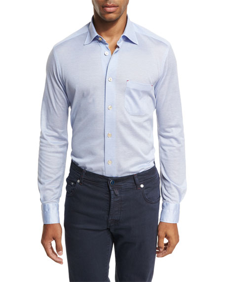Kiton Pique Knit Oxford Shirt, Light Blue