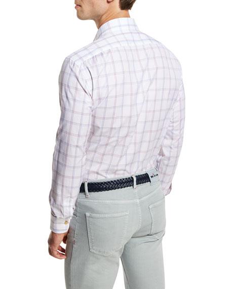 Plaid Sport Shirt, Red/Blue/White