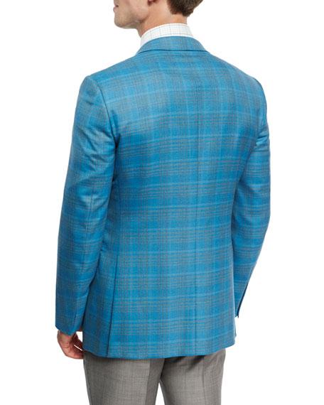 Plaid Two-Button Sport Coat, Aqua