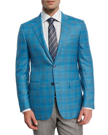 Plaid Two-Button Sport Coat, Aqua