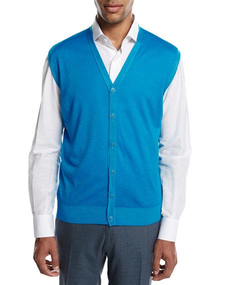 Kiton Cashmere-Silk V-Neck Cardigan Vest, Aqua (Blue)