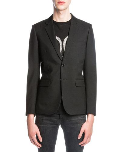 Wool Jacket w/ Glittered Serpent, Black