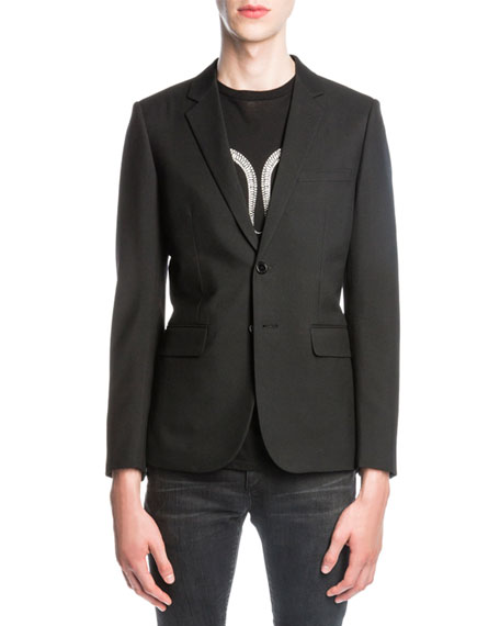 Saint Laurent Wool Jacket w/ Glittered Serpent, Black