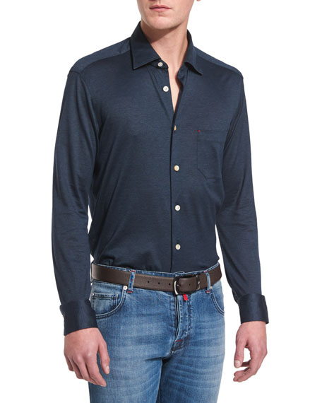 Long-Sleeve Pique Sport Shirt, Navy