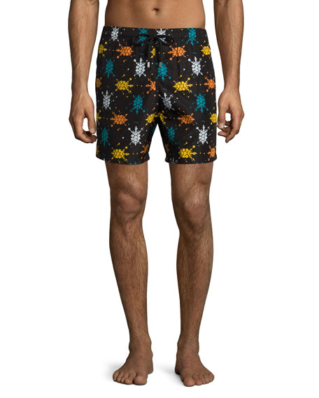 Vilebrequin Mahina Sushi Japan Turtles Swim Trunks, Black