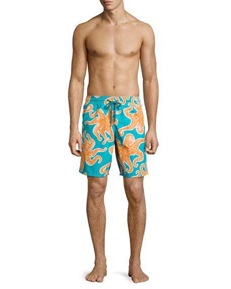 Okoa Octopus-Print Swim Trunks, Blue/Orange