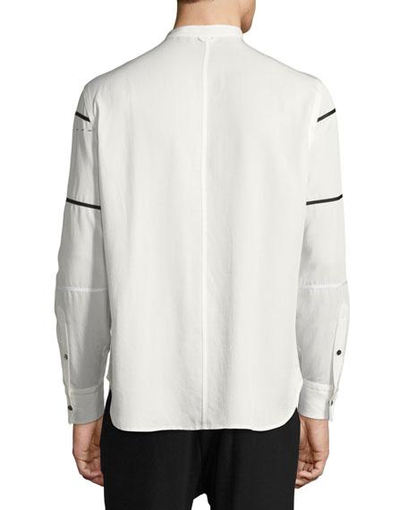 Crosby Grosgrain-Striped Shirt, White