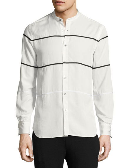 Crosby Grosgrain-Striped Shirt, White