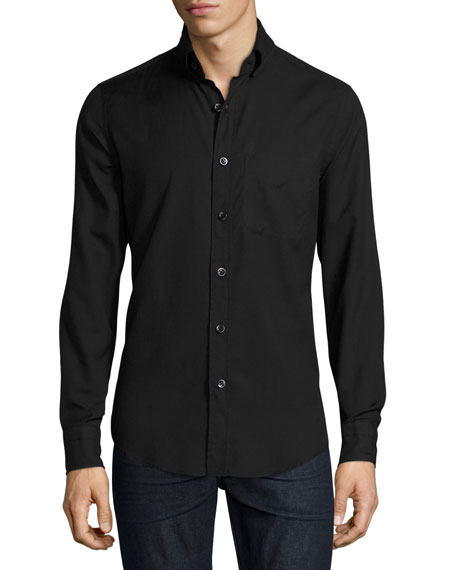 Round-Collar Cotton-Cashmere Shirt, Black