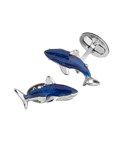 Enamel Shark Cuff Links