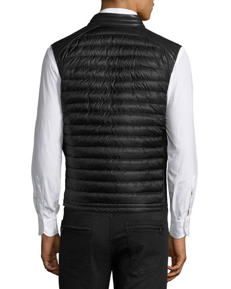 Theo Leather Puffer Vest, Black