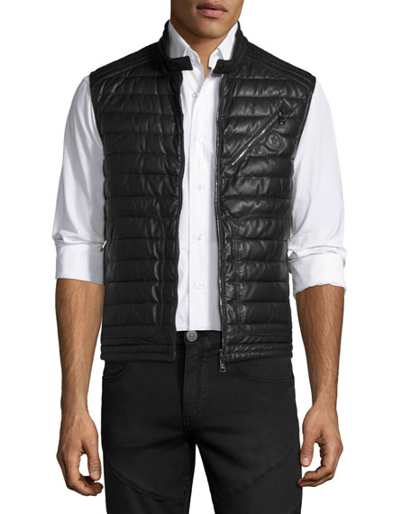 Moncler Theo Leather Puffer Vest, Black