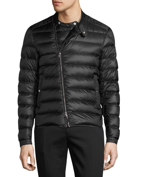 Quilted Moto Puffer Jacket, Black