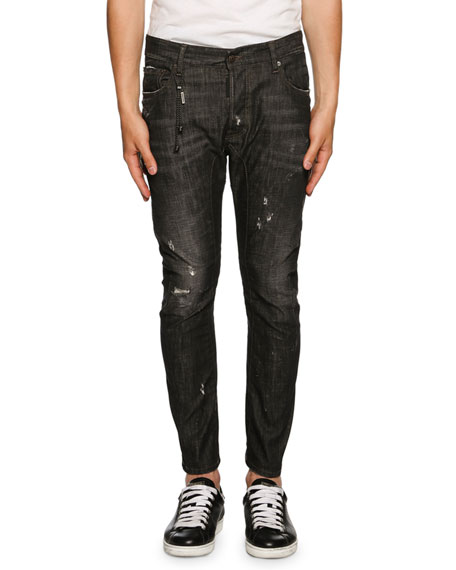 Dsquared2 Tidy Biker Distressed Jeans, Black