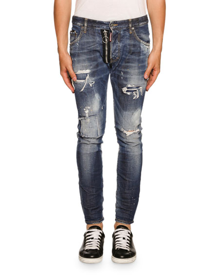 Dsquared2 Skater Zip-Detail Love Wash Jeans, Blue