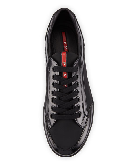 Men's Nylon & Patent Leather Low-Top Sneakers, Black