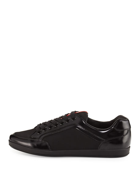 Nylon & Patent Leather Low-Top Sneaker, Black