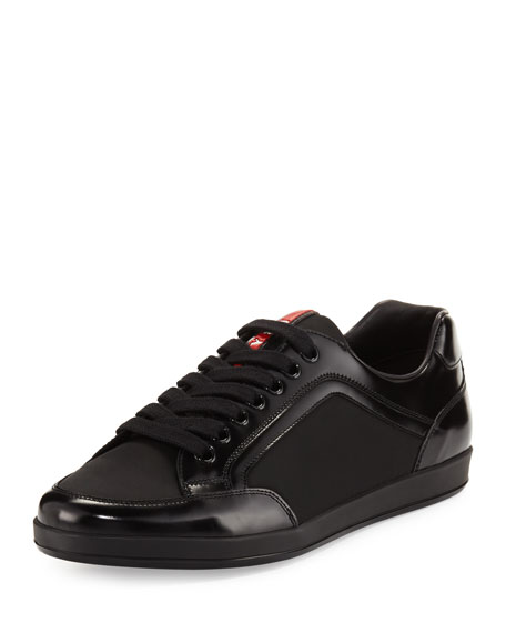 Prada Nylon & Patent Leather Low-Top Sneaker, Black