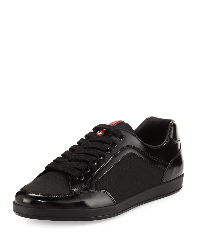 4de29d39cc7 Prada Men s Nylon   Patent Leather Low-Top Sneakers