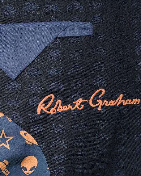 Grissom Alien Jacquard Two-Button Sport Coat, Black