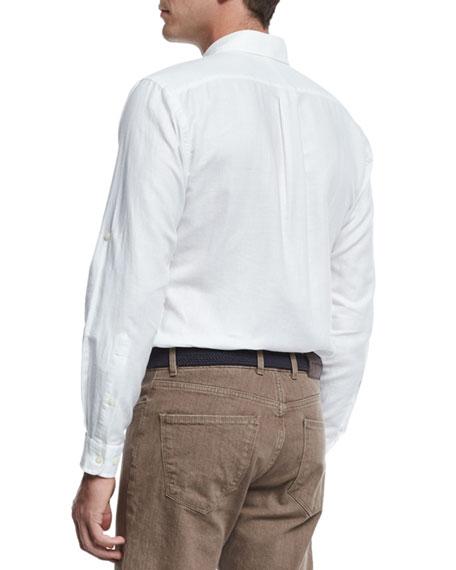 Harkers Herringbone Shirt, White