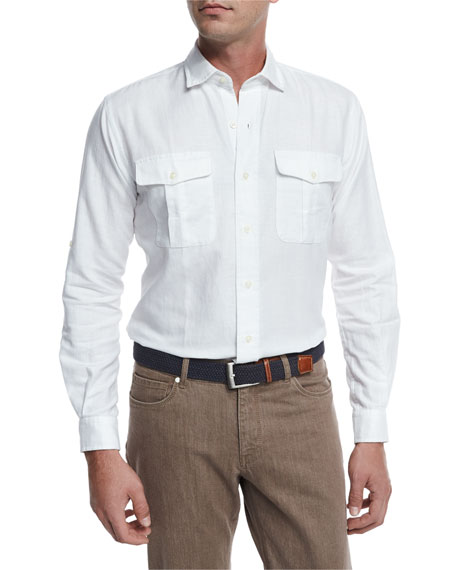 Peter Millar Harkers Herringbone Shirt, White