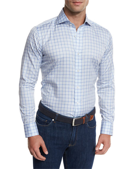 Peter Millar Terrace Check Sport Shirt, Lilac
