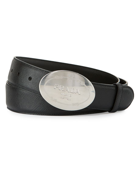 Prada Round Logo Saffiano Belt, Black