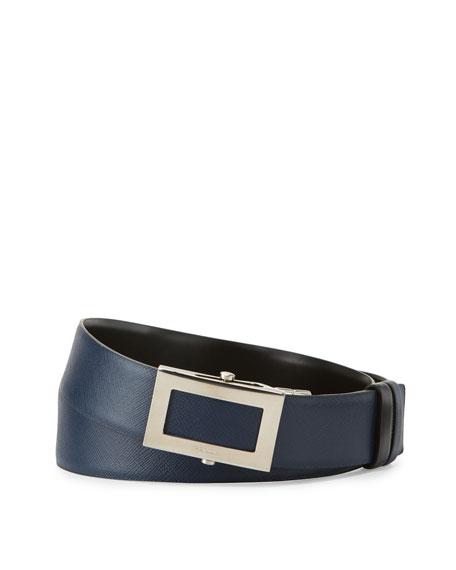 Reversible Saffiano Leather Belt, Black/Blue