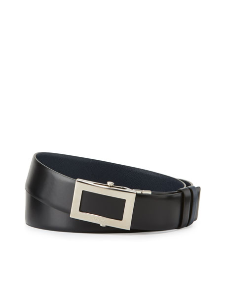 Reversible Saffiano Leather Belt, Black/Blue