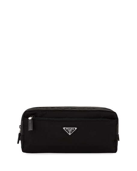 Prada Nylon Double-Zip Toiletry Bag, Black