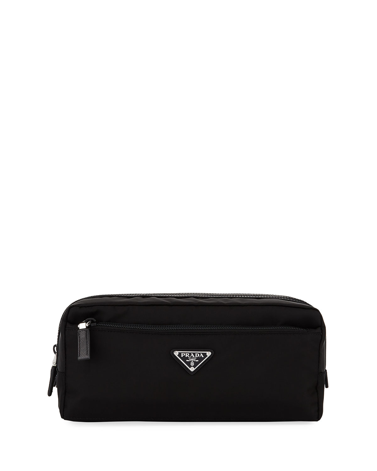9d5e75663c54 Prada Nylon Double-Zip Toiletry Bag, Black | Neiman Marcus