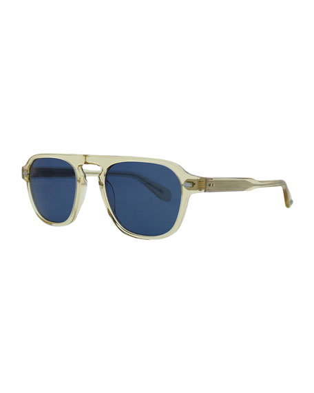 Garrett Leight Grayson 50 Aviator Sunglasses, Champagne/Blue