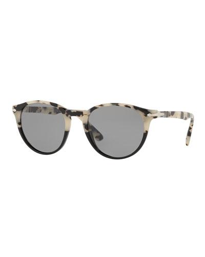 Men's PO31525 Round Acetate Sunglasses