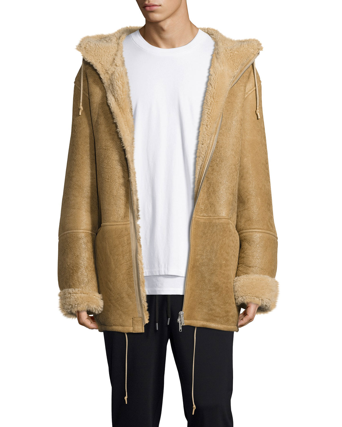 47be58abe Hooded Shearling Fur-Lined Jacket, Beige