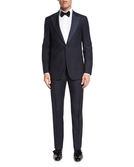 Jacquard-Lapel Tuxedo Suit, Navy